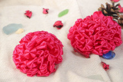 Set of Handmade Hair Ties with Volume Large Bright Pink Flowers 2 Items for Kids