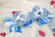 Set of Handmade Festive Hair Ties with Blue Ribbon Bows 2 Items for Children