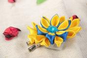 Handmade Designer Kanzashi Satin Ribbon Flower Hair Clip