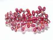 Leaf design hair Barrette Pink Colour with Rhinestone and diamond accent
