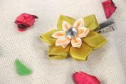 Festive Handmade Children S Kanzashi Satin Ribbon Flower Hair Clip