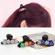 Pretty Box 3pcs Bridal Flower Crystal Rhinestone Mini Hair Claw Pin Wedding Party