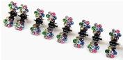 Pretty Box 8pcs Mini Bridal Flower Crystal Rhinestone Jaw Clips Wedding Party