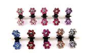 Pretty Box 10pcs Mini Bridal Flower Crystal Rhinestone Jaw Clips Wedding Party