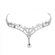 HP95(TM) Women's Hair Accessory, Bride Crown Forehead Decorative Crystal Pendant Necklace Wedding Accessories for Wedding, Evening Cocktail Party
