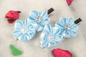Set of 2 Handmade Hair Clips with Satin Ribbon Kanzashi Flowers of Blue Colour