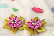 Set of Handmade Festive Hair Clips with Satin Ribbon Kanzashi Flowers 2 Items