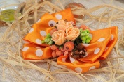 Handmade Hair Clip Bow Made of Satin Ribbons with Polymer Clay Flowers