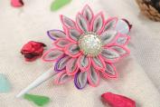 Handmade Decorative Hair Clip with Volume Satin Ribbon and Lurex Kanzashi Flower