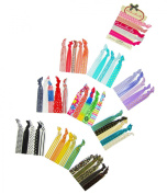 ColorBeBe - No-Crease, Soft and Stretchy Hair Ties - 50pcs Print and Solid