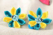 Handmade Beautiful Stylish Set of Scrunchies with Satin Flowers 2 Pieces