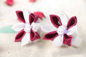 Beautiful White and Claret Handmade Satin Ribbon Hair Ties Set with Flowers 2 Pieces