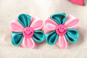 Set of Handmade Kanzashi Ribbon Flower Hair Ties 2 Pieces for Women