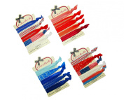 "ColorBeBe - ""Red, White and Blue"" Patriotic No-Crease Hair Ties - 20pcs Print, Solid, & Lace"