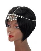 Dangling Teardrop Rhinestone Stud Single Strand Head Chain Jewellery in Silver-Tone