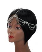 Rhinestone Charm 2 Draping Strand Head Chain Jewellery in Silver-Tone