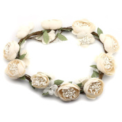 Floral Crown Flower Wreath Headband Garland Halo with Floral Wrist Band for Bride Wedding Festivals