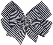 Lucky 13 Miss Captain Striped Black White Anchor Satin Hair Bow