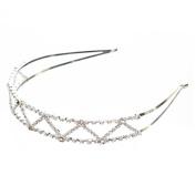 ACCESSORIESFOREVER Women Bridal Wedding Jewellery Crystal Rhinestone Delicate Zigzag Pattern Headband H159