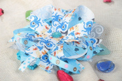 Tender Handmade Headband with Stretch Basis and Bright Blue Satin Ribbon Bow