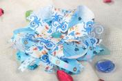 Tender Handmade Headband with Stretch Basis and Bright Blue Satin Ribbon Bow