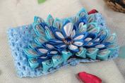 Handmade Designer Headband with Stretch Basis and Volume Blue Kanzashi Flower