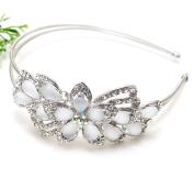 Bridal Wedding Jewellery elegant metal headband with BLUE flowers beautyxz