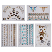 Rarelove Fashion Gold Silver Jewellery Flash Metallic Temporary Tattoos 5 Sheets #2