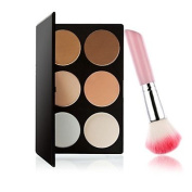 QINF M0243 6 Colours Powder Cake and 1PCS Pink Handle Blush Brush