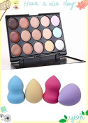 Kakaxi (TM) Professional 15 Concealer Camouflage Makeup Palette and 4pc Pro Flawless Smooth Water Droplets Shaped Puff Beauty Makeup Sponge