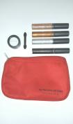 Fashion Fair Lip Teasers Set Gold-Pearl-Platinum-Noir Plus Mini Eye Shadow Sugar And Red Cosmetic Bag