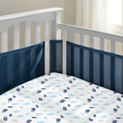 Breathable Mesh Crib liner w/Microfiber Binding-fits all cribs Navy Mist