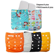 (LOVE MY) Baby Washable Reusable Adjustable Snap Girls/Boys One Size Cloth Nappies , 6 pcs + 6 Inserts