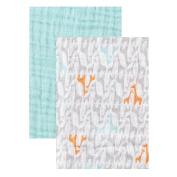 Yoga Sprout Muslin Swaddle Blankets, Teal Giraffe, 120cm x 120cm