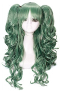 Nuoqi 60cm Long Green Lolita Clip on Ponytails Cosplay Hair Wig RW139D