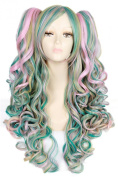 Nuoqi Pink Green and Yellow Mixed Curly Wavy Lolita Clip on Ponytails Cosplay Wigs ZY133