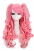 Nuoqi 60cm Long Mixed Pink/blonde Lolita Clip on Ponytails Cosplay Hair Wig