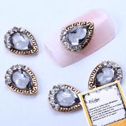 BTArtbox 10PCS New Trendy Golden Alloy 3D Rhinestones with Grey Diamond Nail Art Glitters Acrylic DIY Decoration Fashion