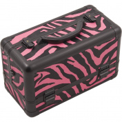 Hiker 3-Tier Extendable Trays Pro Cosmetic Makeup Case with Brush Holder, Zebra Pink