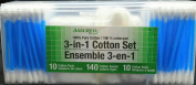 3-in-1 Cotton Set with 100% Pure Cotton Pads, Cotton Swabs, and Cotton Balls