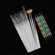 Yoyoflyer 15pcs White Handle Fingernail Art Manicures Fashion Design Painting Drawing Brushes & 5pcs Double-end Dotting Pen Tools Set