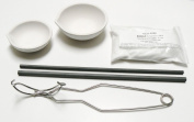 CRUCIBLE MELTING KIT 2 LARGE DISH CUP & STIRRING RODS - WHIP HANDLE TONG - BORAX