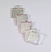 12 Deannassupplyshop 2.5cm square Pendant Trays with flat glass - Silver - 2.5cm - Pendant Blanks Cameo Bezel Settings Photo Jewellery - Custom Jewellery Making - 2.5cm