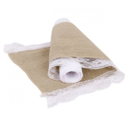 OULII 2.2M Hessian Jute Lace Craft Ribbon Tablecloth for DIY Crafts Home Wedding Decor