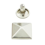 "Bluemoona 100 Set - 12mm 1/2"" Pyramid Rapid Rivet Stud Nickel for Leather Craft"