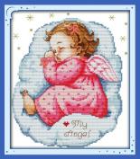 Benway Stamped Cross Stitch Kit Asleep Angel Baby Girl 11 Count 32x33cm