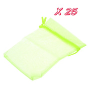 Beautiful Bead 25 pcs Adjustable Neck Stringed Dainty Gift Pocket Jewellery Organiser Candy Pouch Fluorescent Green