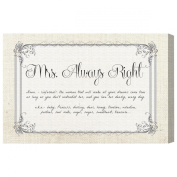 Burst Creative 'Mrs Always Right' Canvas Art, 80cm by 50cm