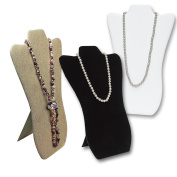 3 of Padded Fabric Covered Wood Necklace Display With Easel 22cm W x 36cm H.