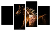 SmartWallArt@ -4 Piece Wall Art Painting A Brown Horse With Cool Flying Mane In Dark Picture On Canvas Stretched By Wooden frames-For Home Modern Living Room Decor Hang Up Fairly Easily
